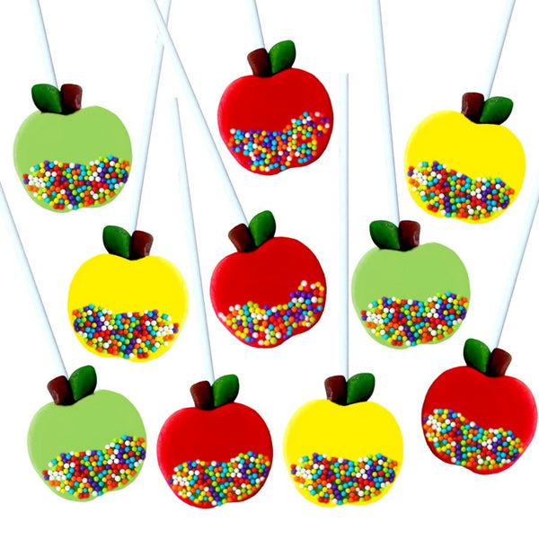 assorted caramel apples marzipan candy lollipops