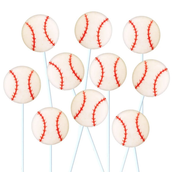 baseball marzipan candy lollipops