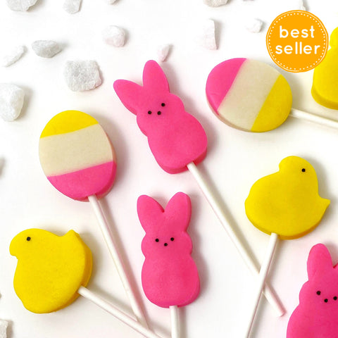 Easter peep chicks & bunnies marzipan candy lollipops closeup