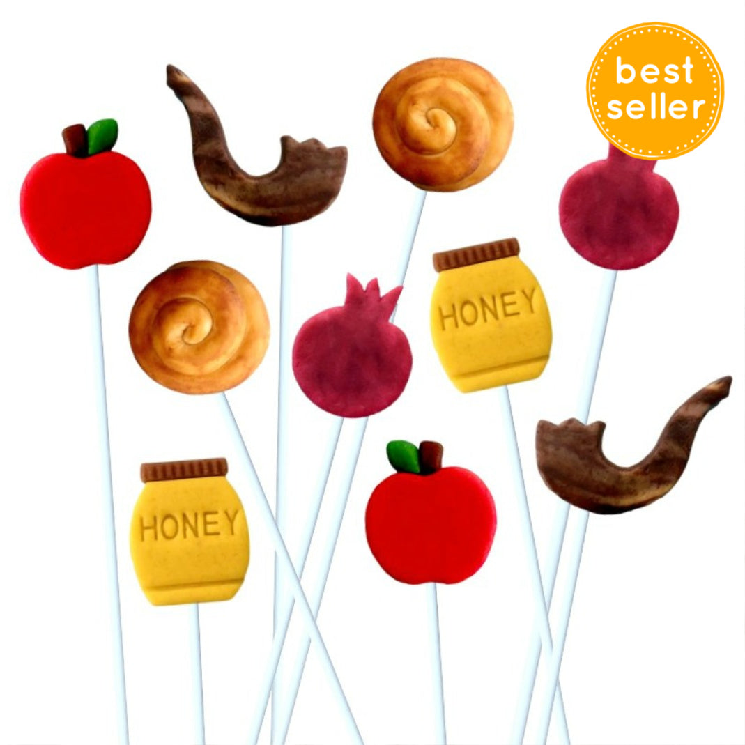 Rosh Hashanah collection with apples, honey, shofar, challah and pomegranate marzipan candy lollipops best seller