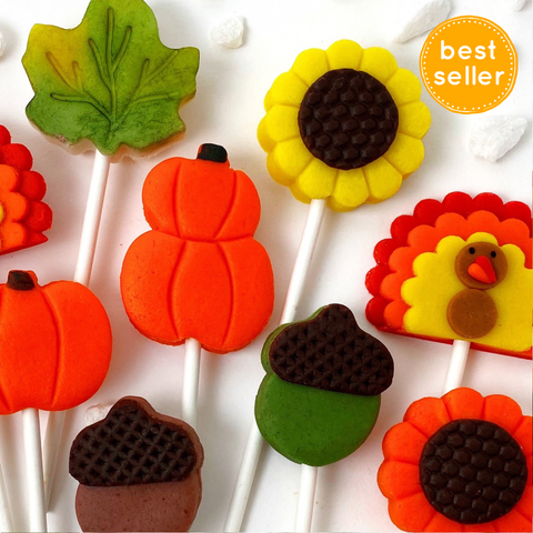 Thanksgiving collection with pumpkins, turkeys, sunflowers, maple leaves and acorns marzipan candy lollipops best seller