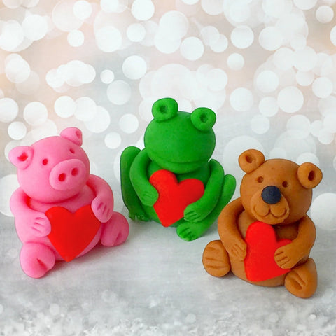 Valentine's Day animals frog pig teddy bear heart marzipan candy sculpture treats