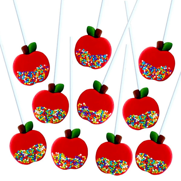 red caramel apples marzipan candy lollipops