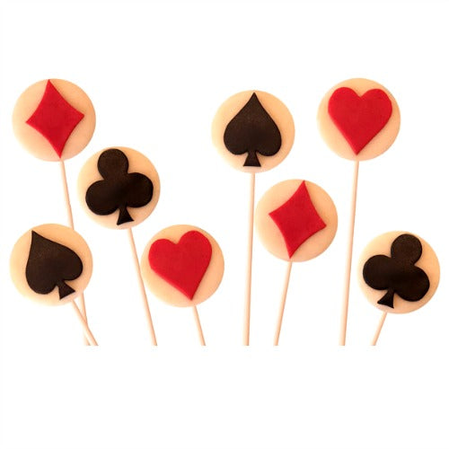 playing poker cards with spades, diamonds, clubs and hearts marzipan candy lollipops