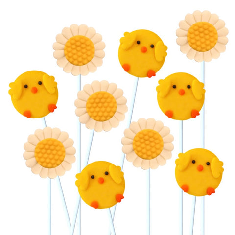 chicks and daisies marzipan candy lollipops