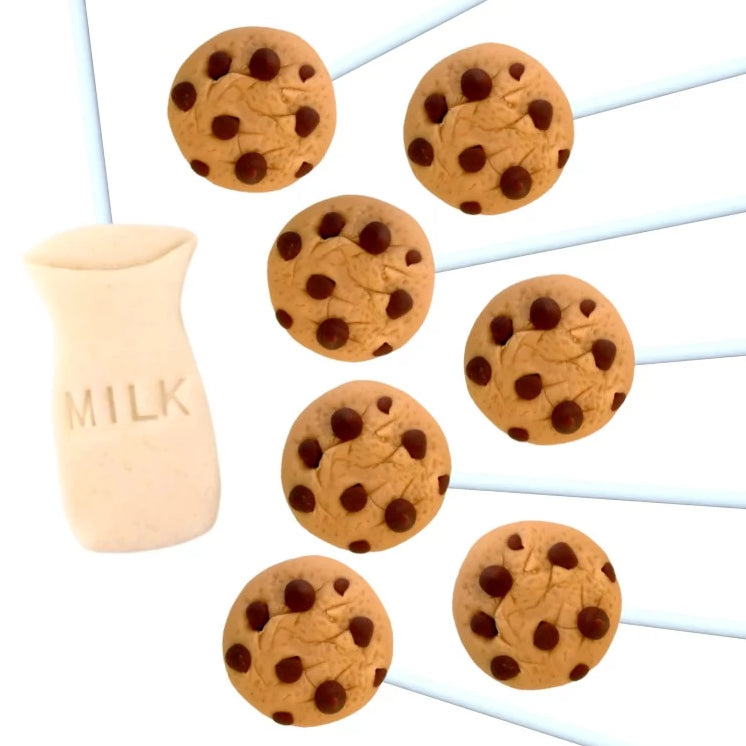 chocolate chip cookies and milk marzipan candy lollipops
