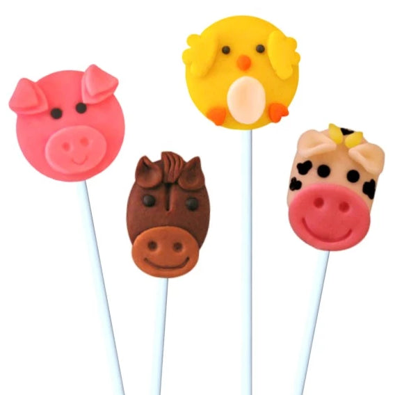 farm animals with cow, chick, pig and horse marzipan candy lollipops