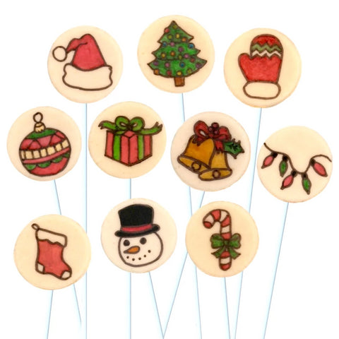 Christmas collection with Santa hat, mitten, ornaments and gifts marzipan candy lollipops