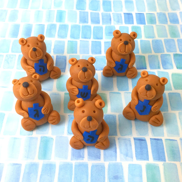 Hannukah teddy bears holding dreidels group of marzipan animal sculpture treats