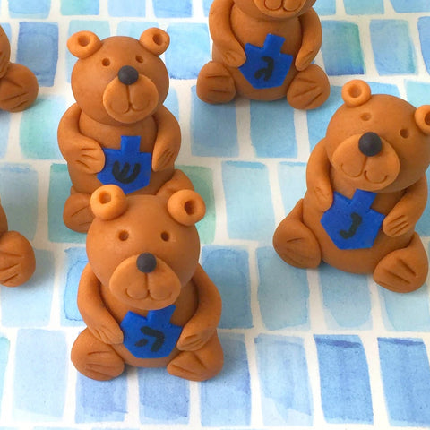 Hannukah teddy bears holding dreidels marzipan animal sculpture treats