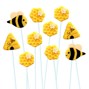 Rosh Hashanah honeybee collection with bees, beehives and honeycomb marzipan candy lollipops