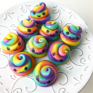kawaii rainbow unicorn poop marzipan candy sculpture treats with happy faces