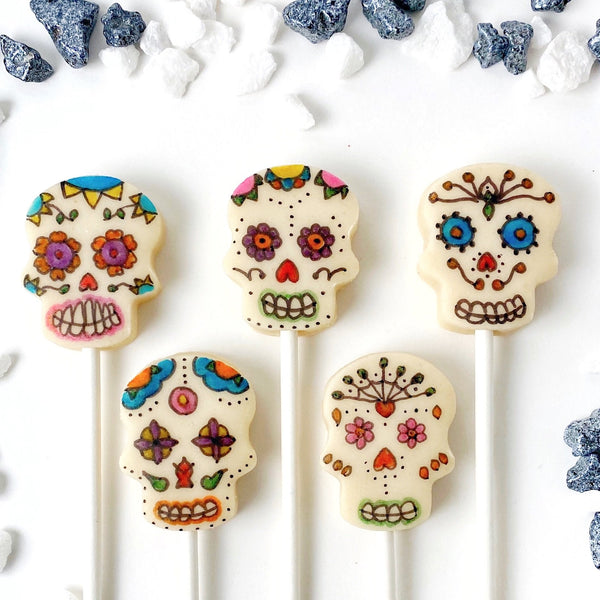 Day of the Dead sugar skull painted marzipan candy lollipops set of 5