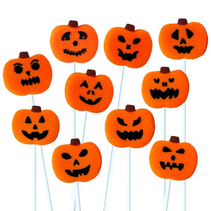 creepy Halloween jack o lantern pumpkin marzipan candy lollipops