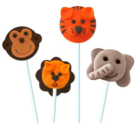jungle safari animals with elephant, monkey, lion and tiger marzipan candy lollipops