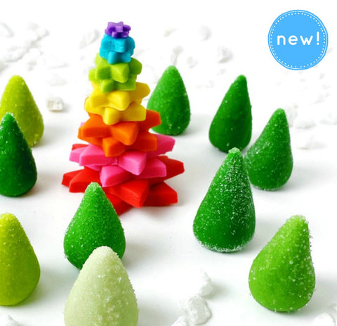 rainbow Christmas tree and sparkly green trees marzipan candy sculpture treats