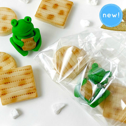 Passover marzipan treat bag with frogs and matzahs closeup
