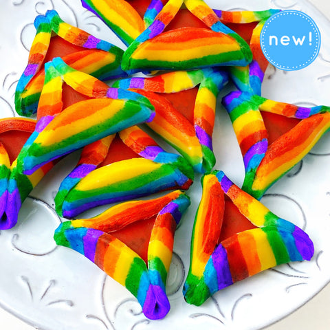 Purim vegan gluten-free rainbow purim hamantaschen marzipan candy sculpture treats closeup