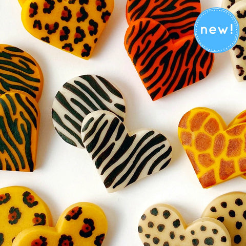 Valentine's Day animal print marzipan heart tiles close up