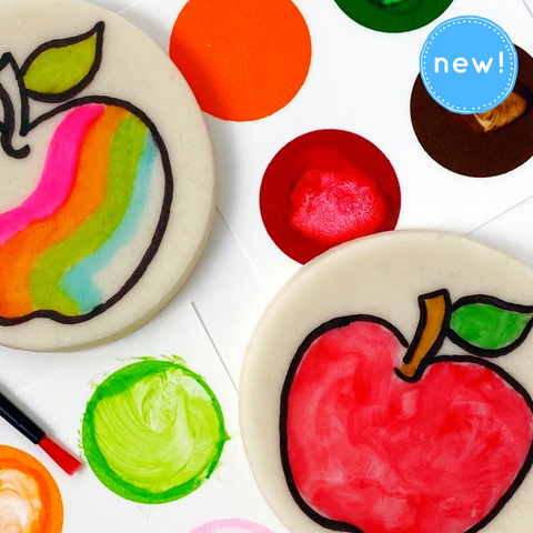 Rosh Hashanah paint your own apples marzipan candy treats  close up