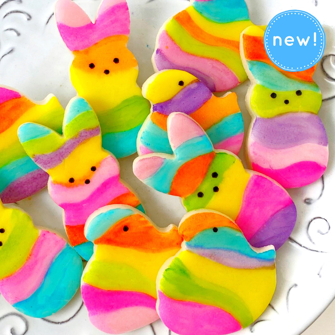 fantasy rainbow marzipan chicks and bunnies new