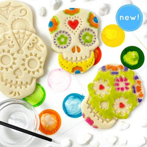 paint your own sugar skull marzipan candy treats new close up