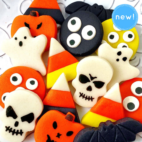Halloween trick or treat candy tiles - ghosts, skulls, candy corn - close up new