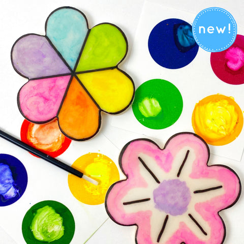 paint your own flowers marzipan candy tiles mothers day new