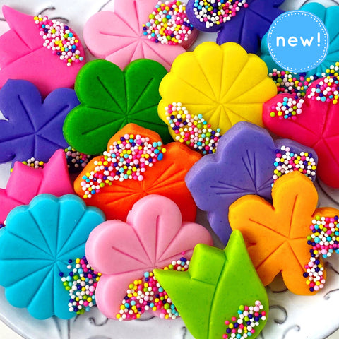 rainbow sprinkle flower marzipan candy tiles new