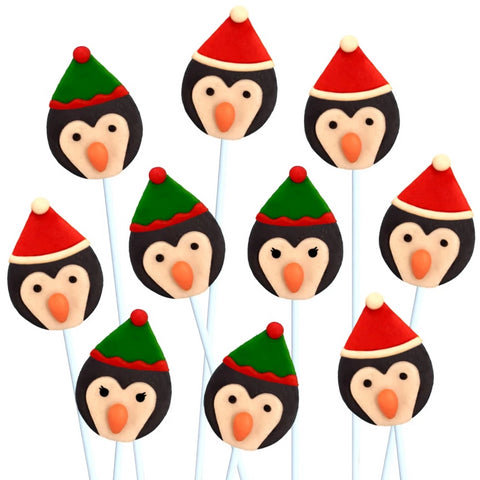 Christmas penguins marzipan candy lollipops
