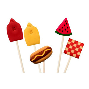 picnic foods with hot dog, watermelon, ketchup and mustard marzipan candy lollipops