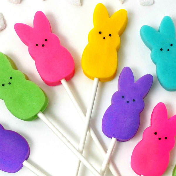rainbow peeps Easter bunnies marzipan candy lollipops close up
