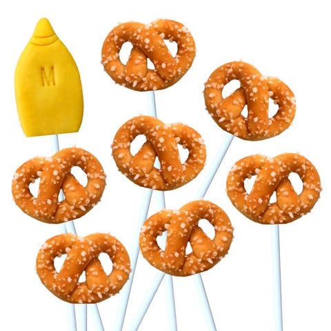pretzels and mustard marzipan candy lollipops