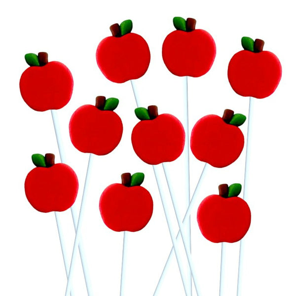 Rosh Hashanah symbols - apples, shofar, challah, pomegranate and honey - marzipan candy lollipops