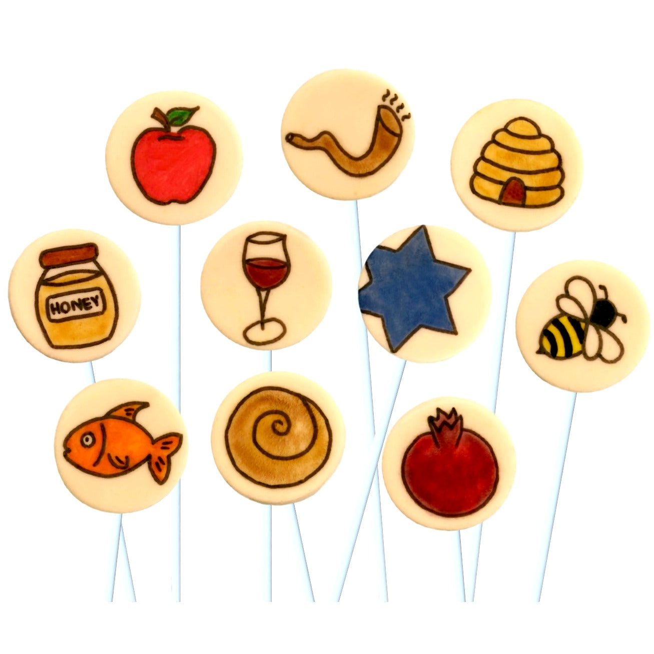Rosh Hashanah hand-painted symbols with challah, apple, honeypot and pomegranate marzipan candy lollipops