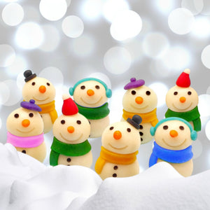 Christmas and winter snowmen marzipan candy sculpture treats