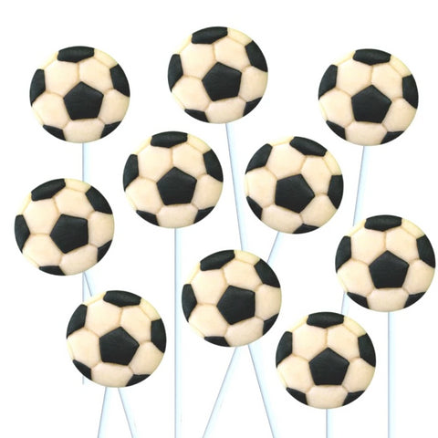 soccer ball marzipan candy lollipops