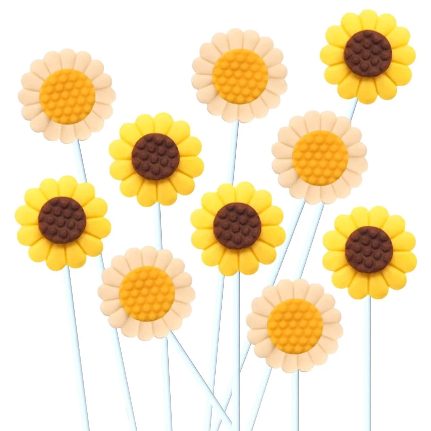 daisy and sunflower marzipan candy lollipops