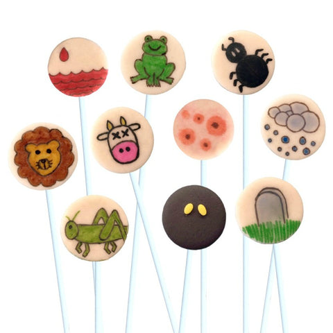 Passover Seder ten plagues marzipan candy lollipops