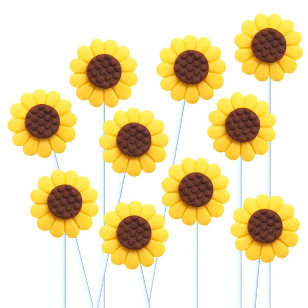 sunflower marzipan candy lollipops