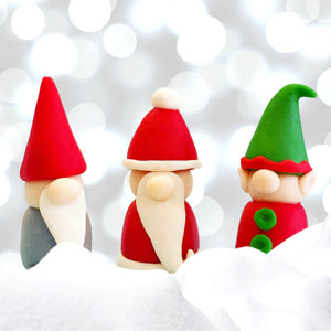 Christmas gnome, santa and elf trio marzipan candy sculpture treats