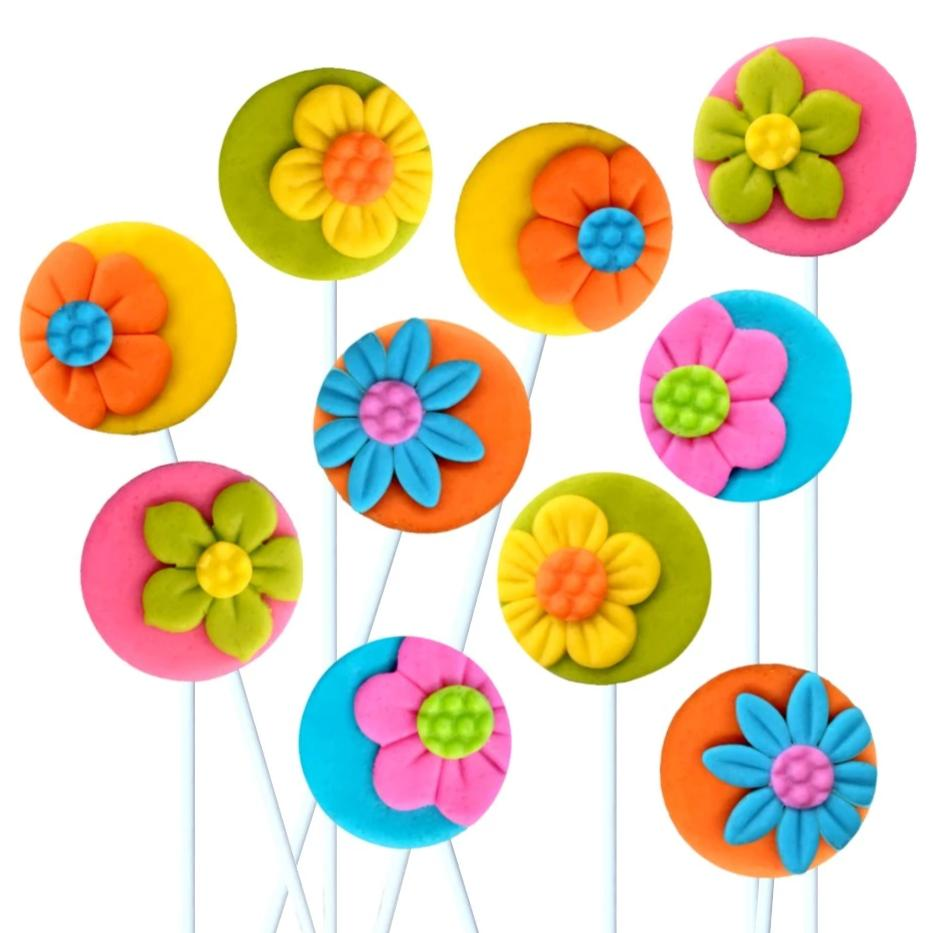 marzipan candy flower silhouette lollipops