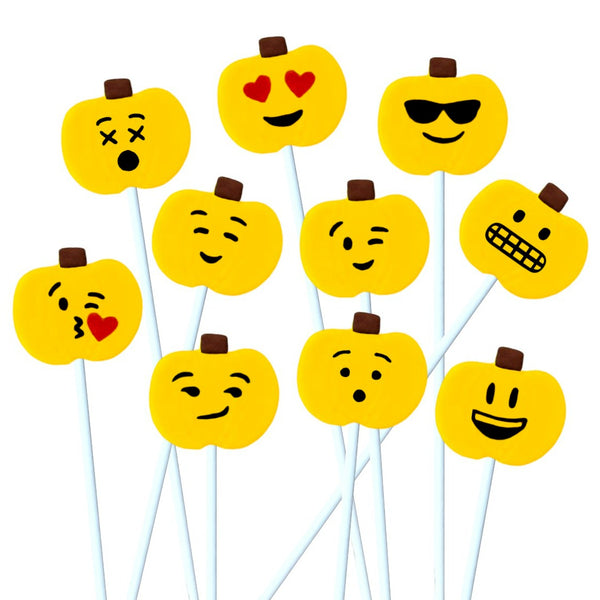 Thanksgiving yellow emoji pumpkins marzipan candy lollipops