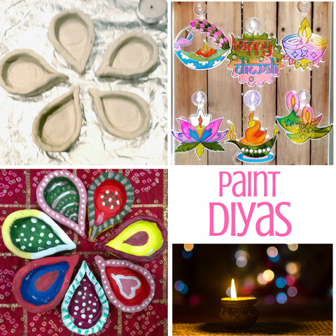 Diya crafts, paint diyas
