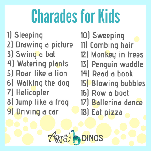 Charades prompts for kids; charades for kids