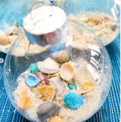 DIY beach ornament with sand and shells
