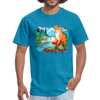 Fox with river t-shirt - Animal Face T-Shirt - turquoise