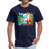 Fox with river t-shirt - Animal Face T-Shirt - navy