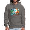 Fox with river hoodie - Animal Face Hoodie - asphalt gray