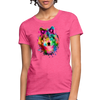 Watercolor wolf Women's T-Shirt - heather pink